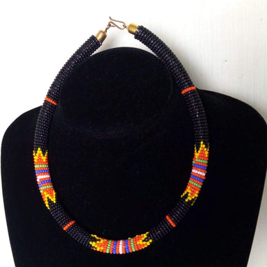 Necklaces Black Maasai Beaded Necklace Unique Design - by Naruki Crafts