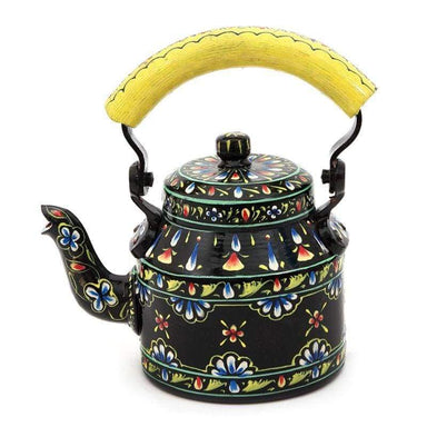 Painted Teapots Black Floral Design Hand Tea Pot in Aluminium