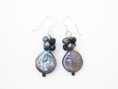 Earrings Black freshwater pearl earings Flat Round (Coin Shape) with crystal - sterling silver ear wires Silk thread