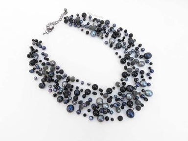 Necklaces Black freshwater pearl necklace with crystal stone on invisible thread multi strands big