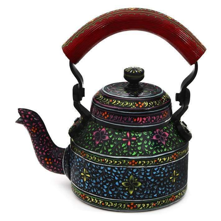 Painted Teapots Black Hand Tea Pot in Aluminium