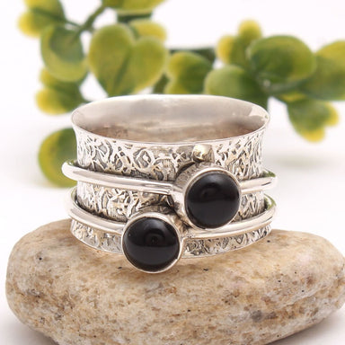 Black Onyx 925 Sterling Solid Silver Spinner Ring Thumb Anxiety Worry Fidget Meditation Jewelry - by Manjari Jewels