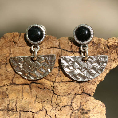 Black onyx earrings in silver bezel setting decorated with sterling fan shape texture oxidized technique and post-backing - by Metal Studio