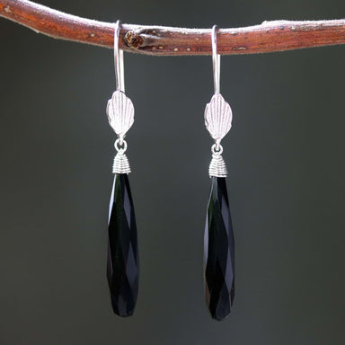 Black onyx earrings with silver wire wrapped on sterling hooks leaf design style - by Metal Studio Jewelry