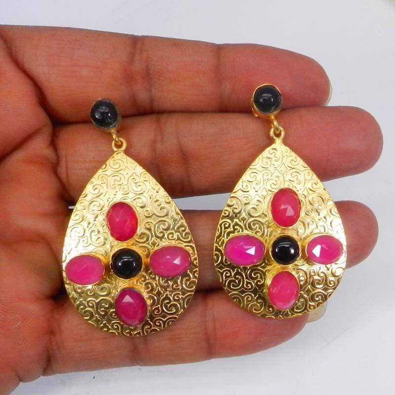 Earrings Black Onyx and Fuchsia Chalcedony Gold Plated Designer Bezel Stud Earring jewelry