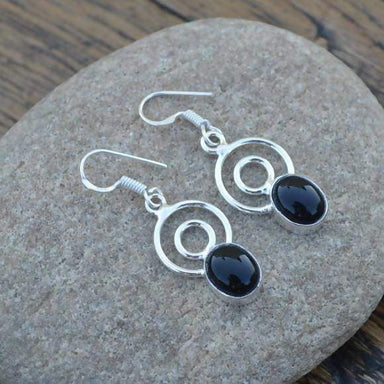 Earrings Black Onyx Gemstone - 925 Sterling Silver Dangle - Women's Gift Jewelry- Jewelry