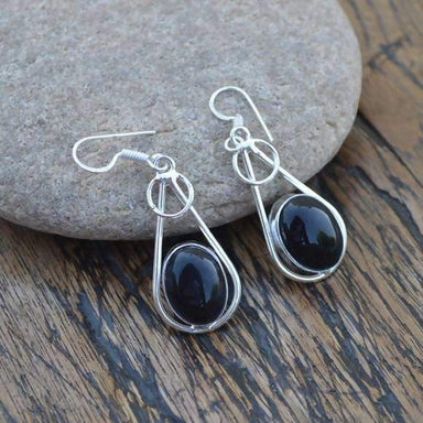 Earrings Black Onyx Gemstone Jewelry 925 Sterling Silver Handmade December Women's Birthstone Gift Designer Dangle