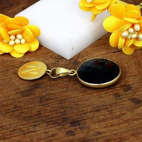 Black Onyx Gemstone Gold Plated Brass Pendant Necklace