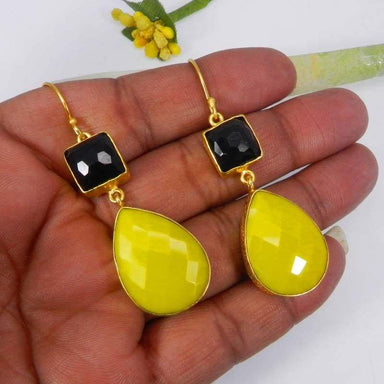 Earrings Black Onyx and Yellow Chalcedony Gold Plated Bezel Set Dangle Earring Handmade Jewelry