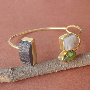 Black Tourmaline Rainbow Moonstone And Peridot Gemstone Birthday Gift Cuff Bangle