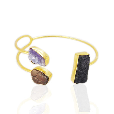 Black Tourmaline Tanzanite And Smoky Quartz Gemstone Adjustable Cuff Bracelet