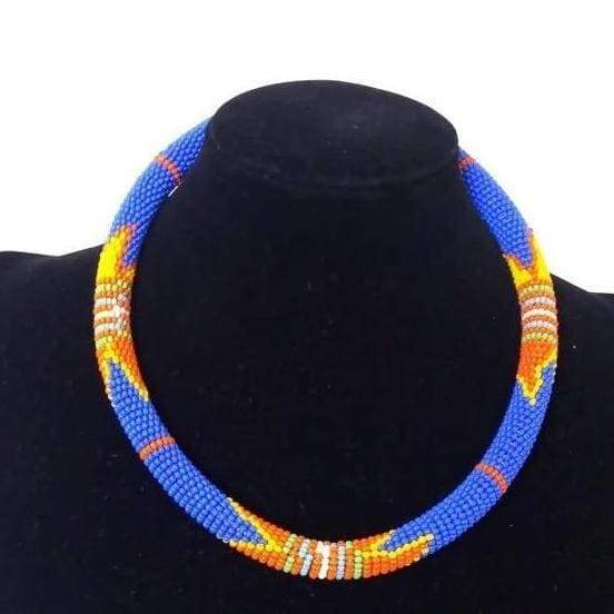 Necklaces Beautiful Maasai Beaded Necklace in the Color Blue - by Naruki Crafts