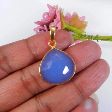 Necklaces Blue Chalcedony Gold Plated Brass Handmade Bezel Set Pendant Jewelry