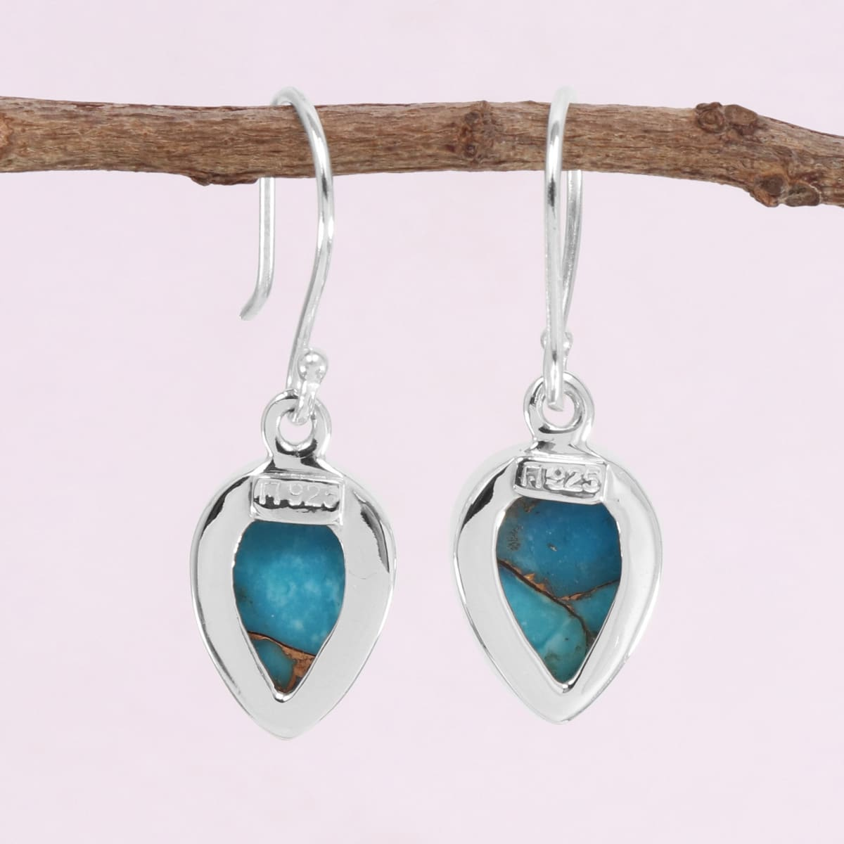 Blue Copper Turquoise 925 Sterling Silver Handmade Earring Dangle For Her Statement Minimalist