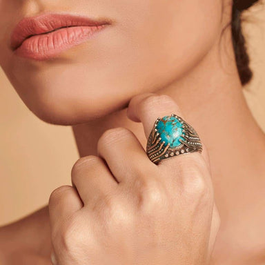 Rings Blue Copper Turquoise Men Ring,Mens Handmade Ring,Turkish Silver Ring,Ottoman Mens Ring Gift for Him 925k Sterling Jewelry - by