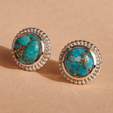 Earrings Blue Copper Turquoise Stud Sterling Silver Post Studs Gemstone Jewelry Gift for her Rope style studs - by Finesilverstudio