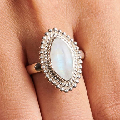 rings BLUE FLASH Rainbow Moonstone Marquise Ring Natural Gemstone Fine Silver Birthday Gift for Women Boho sterling silver artisan jewelry -