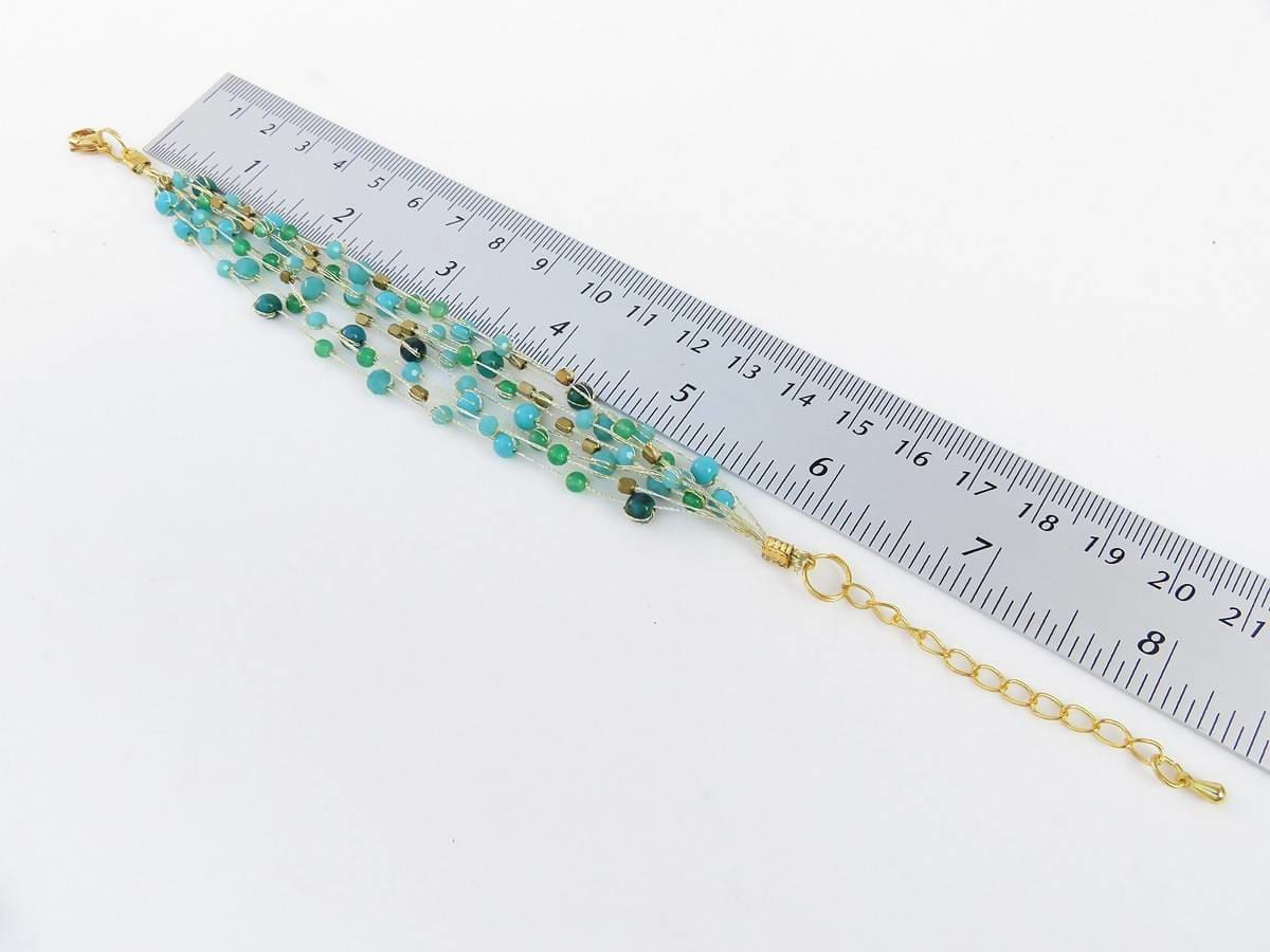 Bracelets Blue green stone bracelet with Chrysocolla crystal brass beads on gold silk thread multi strands