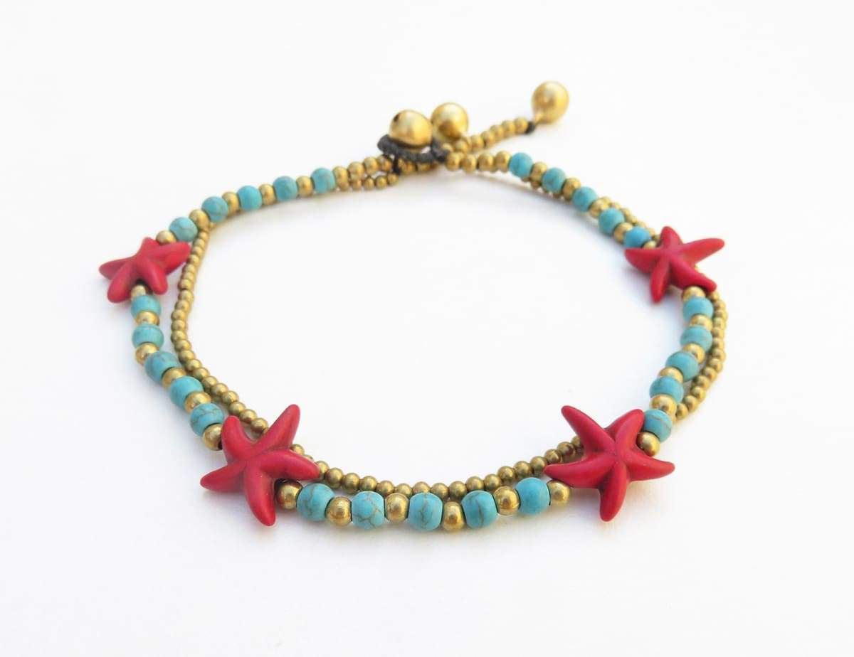 Anklets Blue howlite turquoise stone anklet with star-shaped beads brass bells on dark brown wax cord blue gold