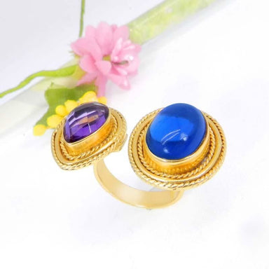 Rings Blue Hydro and Amethyst Gold Plated Designer Adjustable Ring - by Ishu gems