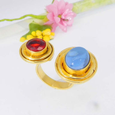 Rings Blue Hydro and Red Gold Plated Adjustable Bezel Set Ring Jewelry - by Ishu gems