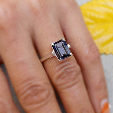 Rings Iolite Ring Emerald Cut baguette stone Blue 925 Silver Stacking jewelry