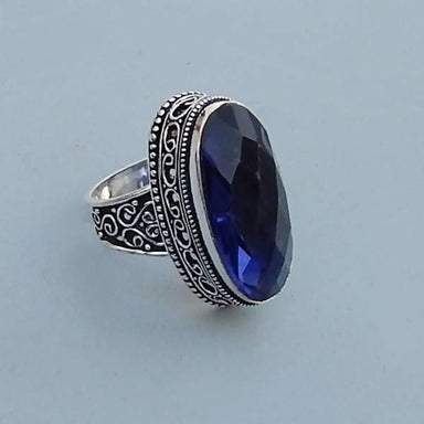 Rings Blue Iolite Quartz Gemstone Ring - 925 Sterling Silver Birthstone Ring- Art Nouveau Gift Jewelry-