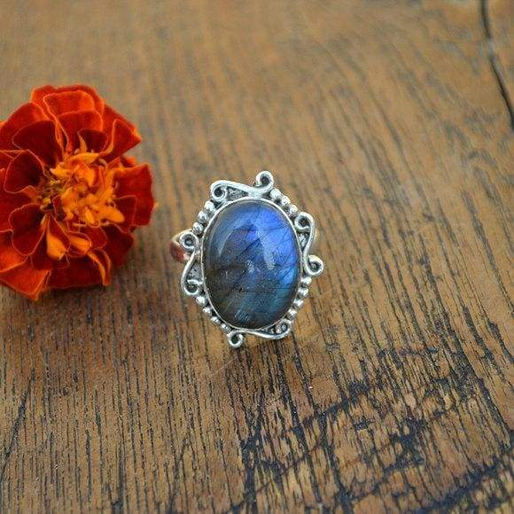 Rings Blue Fire Labradorite 925 Sterling Silver Ring Cabochon