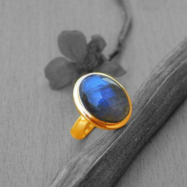 Rings Blue Fire Labradorite gold ring 14k yellow