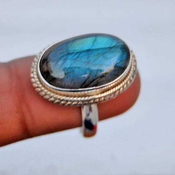 Blue Fire Labradorite Oval Silver Ring - Rings