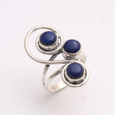 Blue Lapis Lazuli Gemstone Round Ring -925 Sterling Silver Hand Made US Size - by Manjari Jewels