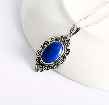 pendants Blue Lapis Pendant 925 Silver 15x20 mm Oval Lazuli Gemstone For Women - by GIRIVAR CREATIONS