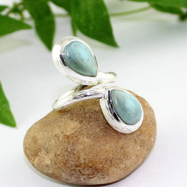 Rings Blue Larimar Silver Ring Dominican pectolite