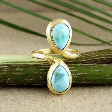 Rings Blue Larimar Stones in Gold Ring