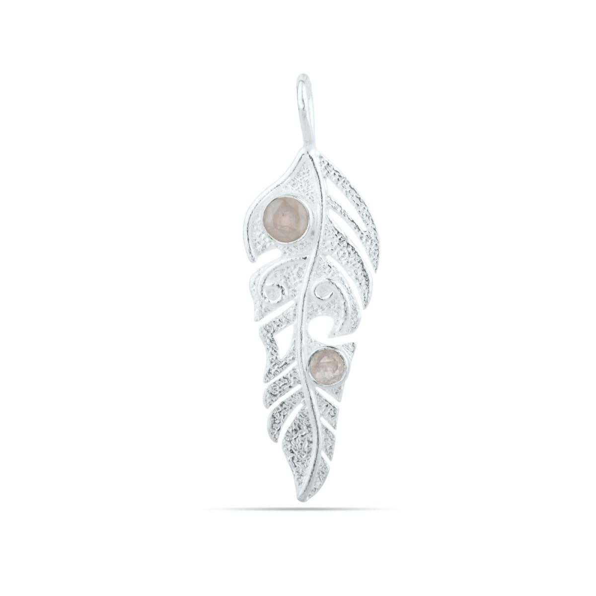 Blue Moonstone Sterling Silver leaf Pendant