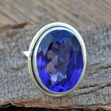 Rings Tanzanite Quartz Ring Blue 925 Sterling Silver Classic Bezel Set Gift,Quartz Ring,Blue - Title by NativeFineJewelry
