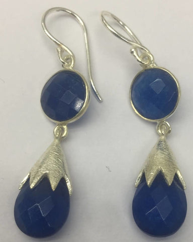 Earrings Blue Quartz Round & Briollet Shape Stone Earring - by TJ GEMS