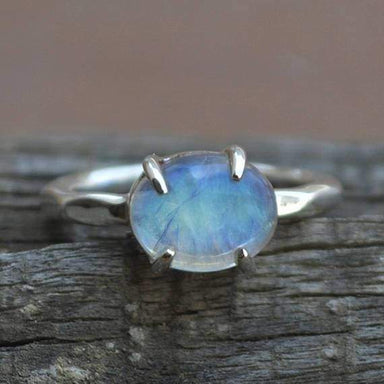 Rings Blue Fire Rainbow Moonstone Gemstone Ring 925 Sterling Silver Prong Set