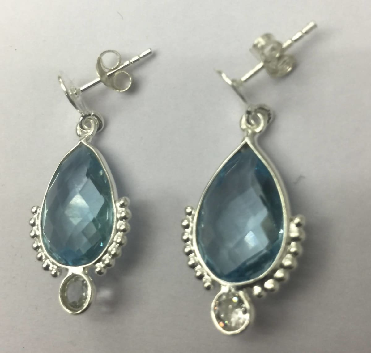 Earrings Blue Topaz - by TJ GEMS