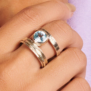 Rings Blue Topaz gemstone 925 Sterling silver Ring Fashion Handmade Jewelry Gift - by Adorable Craft