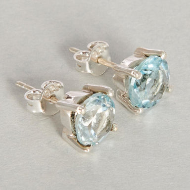 Earrings Blue Topaz Gemstone Prong Stud Earring Post 925 Sterling Silver Fashion Handmade Jewelry Gift Ring - by Adorable Craft