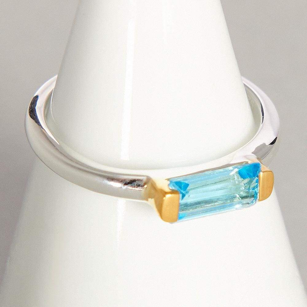 Rings Blue Topaz Gemstone Silver Ring - by Maya Studio