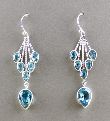 Earrings blue topaz earring jewelry designer - by Maya Studio