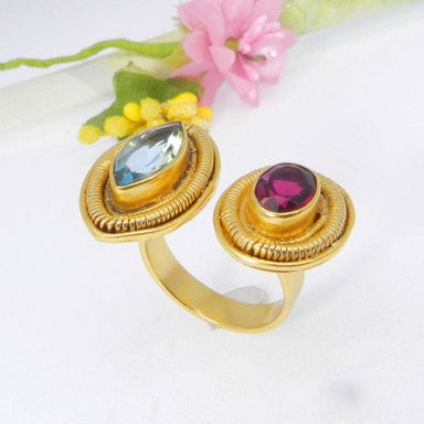 Rings Blue Topaz Hydro and Garnet Gold Plated Designer Adjustable Ring - by Ishu gems