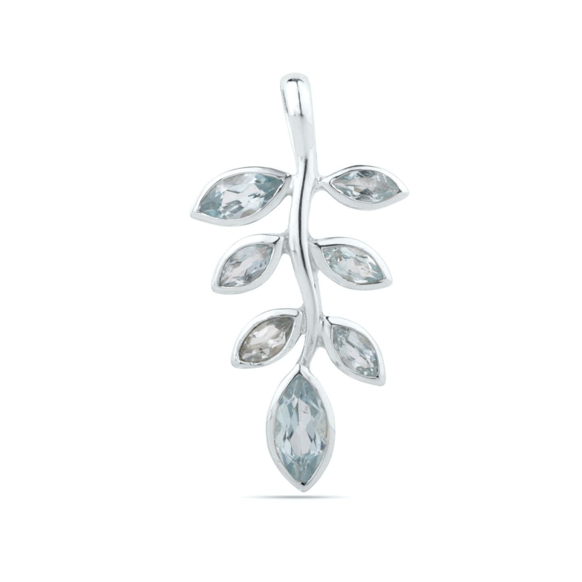 Blue Topaz Leaf Pendant in Sterling Silver Necklace For Woman