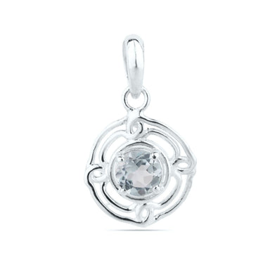 Blue topaz pendant 6×6mm Round Pendant Designer December birthstone unique Topaz silver necklace