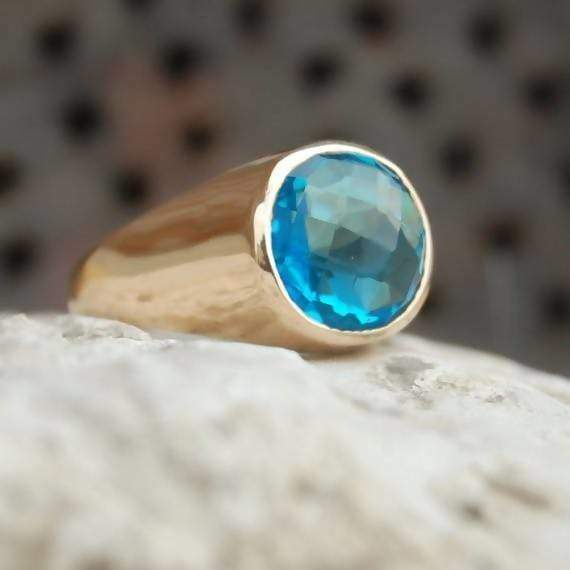 Rings Blue Topaz Ring Round Faceted gemstone sterling silver ring 22K Yellow Gold Rose statement Men's
