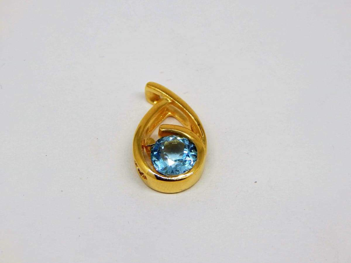 Necklaces Blue Topaz Tiny Golden Vermeil Gold Plated Sterling Silver Pendants