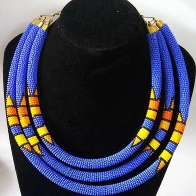 Necklaces Blue Unique Maasai Beaded Statement Necklace - by Naruki Crafts