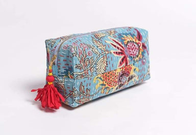 Blue Utility Pouch in Cotton Kantha with Tassel - Bags